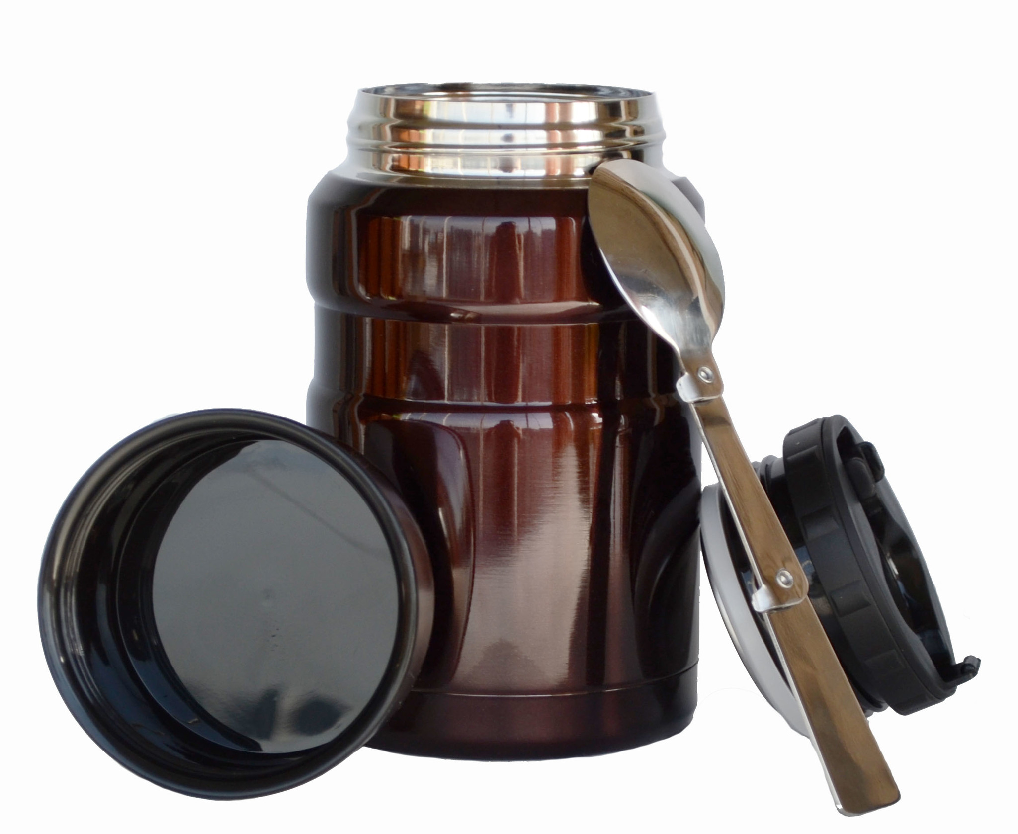 Термос для еды Muggs с ложкой 500 мл коричневый