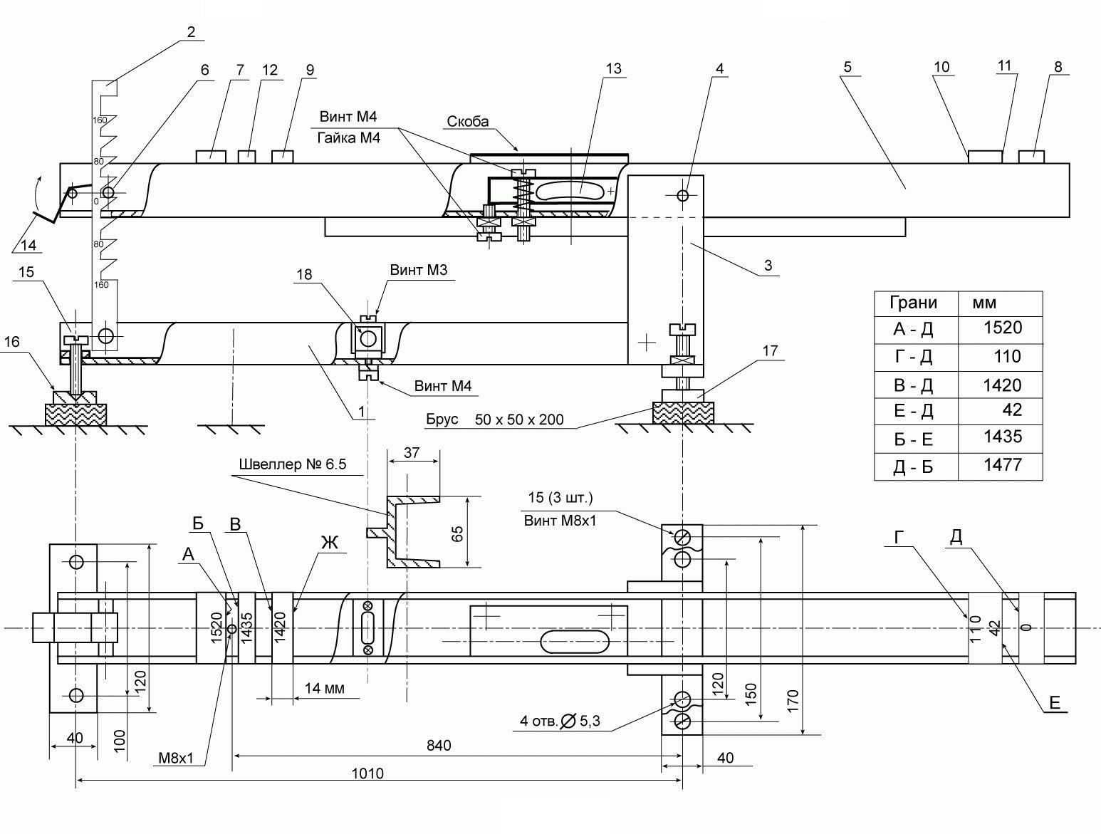 Стенд для поверки путевых шаблонов СППШ-1 чертеж