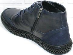Зимние мужские ботинки из кожи Luciano Bellini BC2802 L Blue.