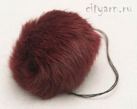 Помпон из меха кролика, винно-красный, диаметр 8 см