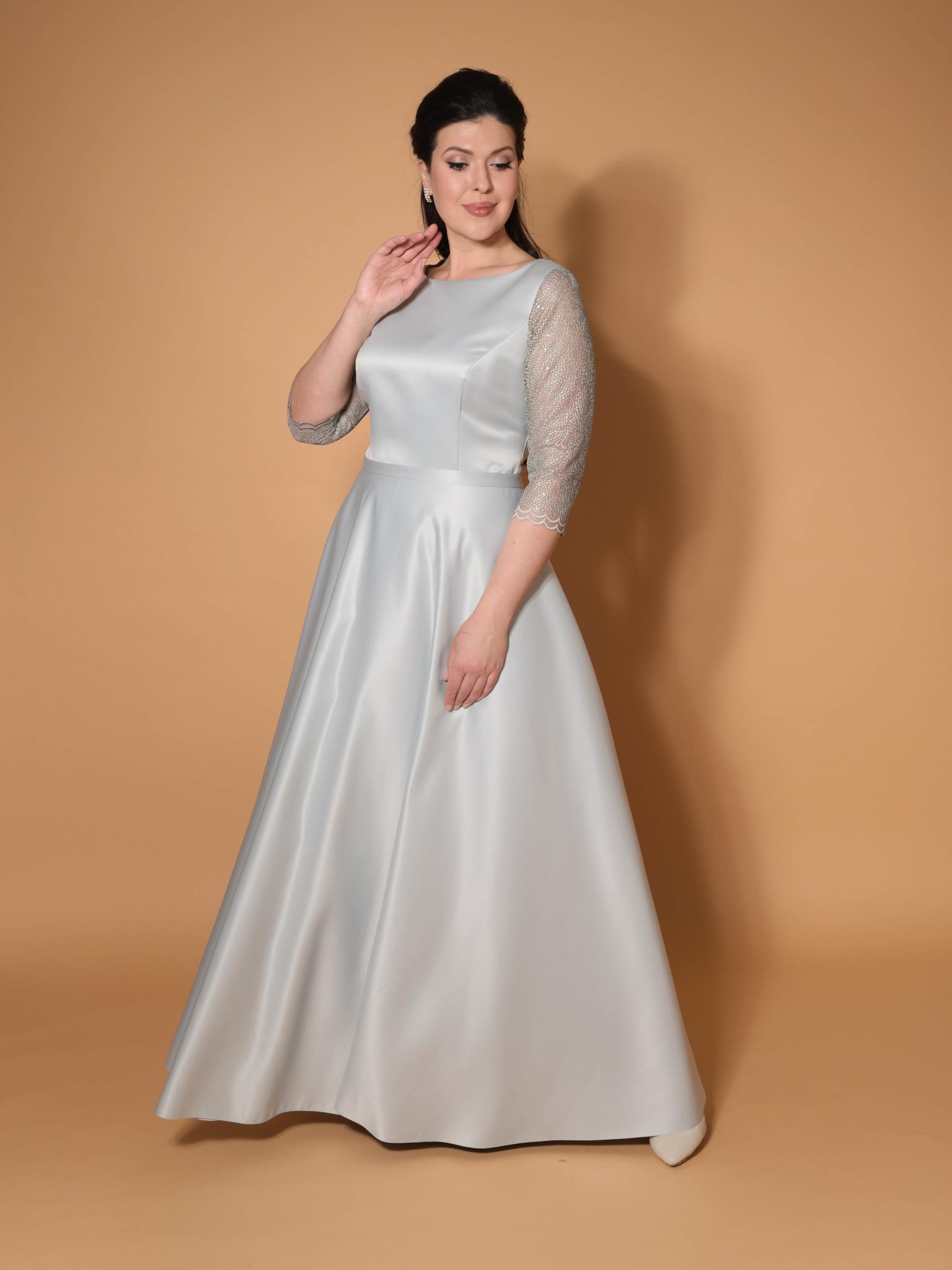 Нарядное платье Классика с кружевным рукавом три четверти + (серый)