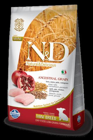 купить Farmina N&D Ancestral Grain Chicken & Pomegranate Puppy Mini сухой низкозерновой корм для щенков, беременных и кормящих собак мелких и карликовых пород