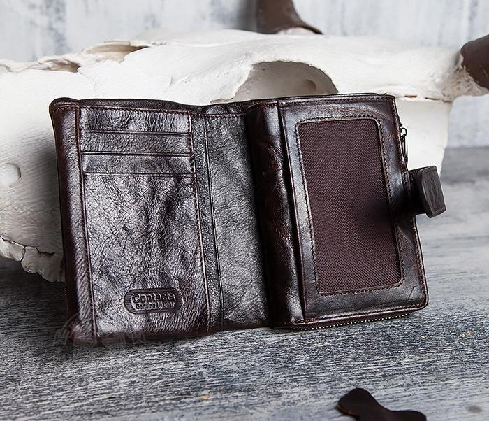 WL291-2 Мужской кожаный кошель с отделением на молнии фото 04