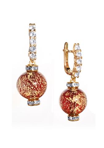 Серьги из муранского стекла со стразами Franchesca Ca'D'oro  Medio Rubino Gold 456A