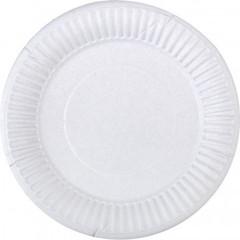 Тарелка одноразовая бумажная белая 200 мм 100 штук в упаковке