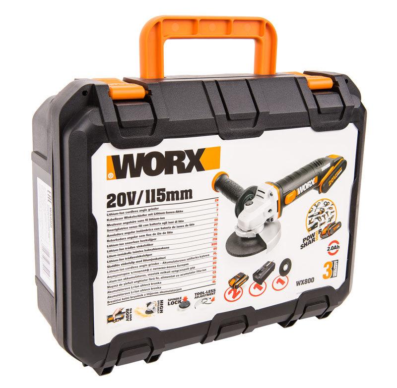 Угловая шлифмашина аккумуляторная WORX WX800, 20В, 115 мм, 2*2,0Ач, кейс