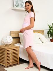Мамаландия. Сорочка для беременных и кормящих с горизонтальным секретом и кружевом, розовый меланж