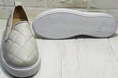 Весенние туфли кожаные слипоны женские Alpino 21YA-Y2859 Cream.