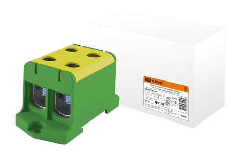 Клемма вводная силовая КВС 4 ввода 16-95 кв.мм. желтая/зеленаяTDM