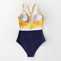 купальник слитный спортивный синий желтый закрытый 3
