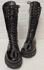 Грубые ботинки кожаные. Высокие черные ботинки женские на толстой подошве.Зимние ботинки на шнуровке 321-90.