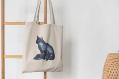 Сумка-шоппер с принтом Кот, Кошка, Котенок (кошки) бежевая 0010