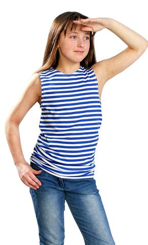 Майка-тельняшка детская тк. кулирка голубая полоса