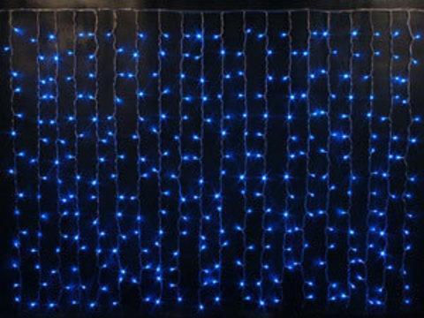 Гирлянда светодиодный занавес 2,5*2, с контроллером, цвет Синий, провод прозрачный