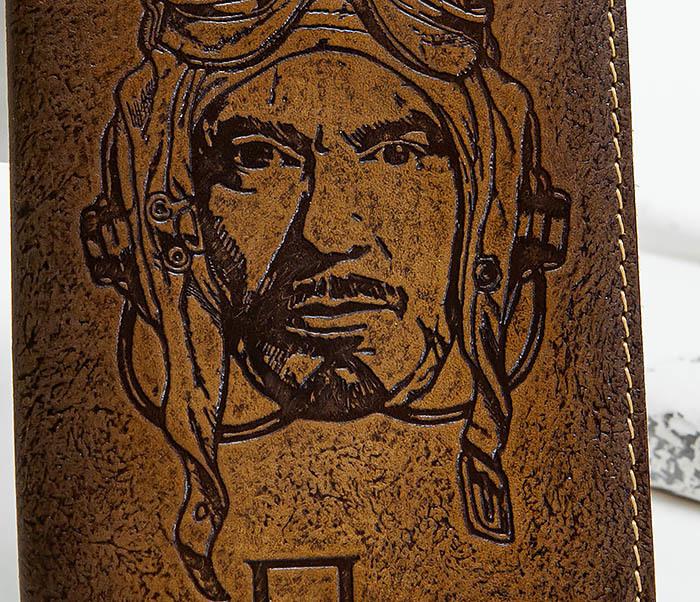 BY140214 Кожаная обложка на паспорт «Пилот» фото 02