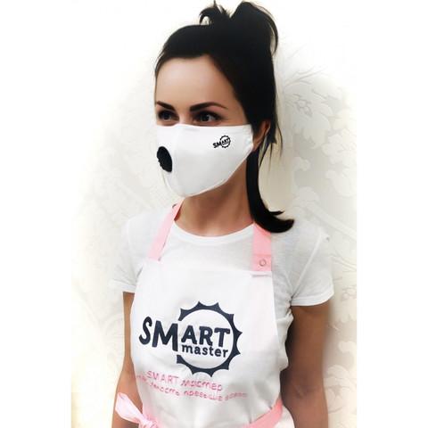 Маска SMART с угольным фильтром белая