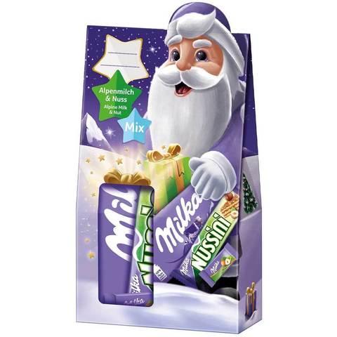 Новогодний набор Milka Alpine milk & Nut mix 163 гр