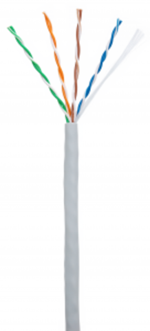 Кабель NETLAN U/UTP 4pair, Cat5e, In, PVC (CCA-UU004-5E-PVC-GY) (305м.)