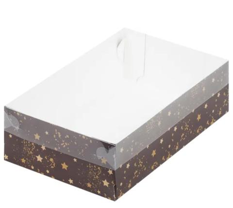 Коробка для зефира,тортов и пирожных,25*15*7см (коричневая со звездами)