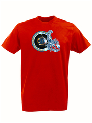 Футболка с принтом Знаки Зодиака, Рак (Гороскоп, horoscope) красная 004