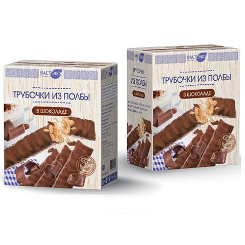 Трубочки из полбы, Вастэко, трубочки в шоколаде, 150 г