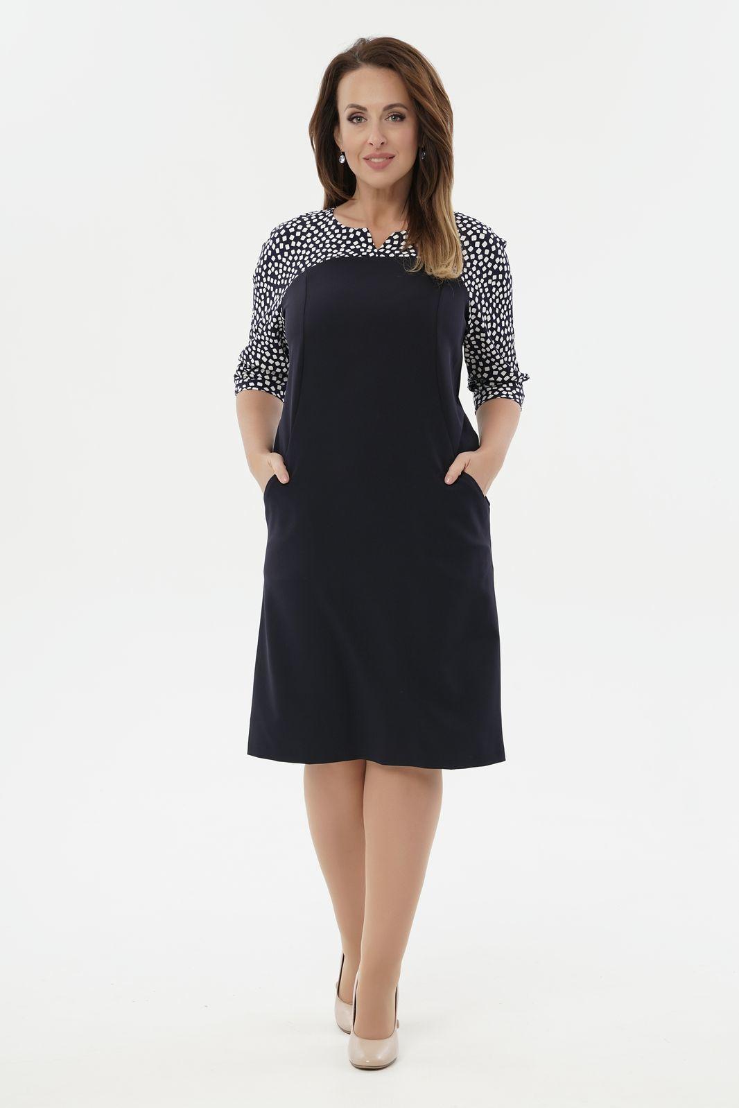 Платья Платье комбинированное 2-146-2 56 2-146-2_siny_abstrakcia_1.jpg