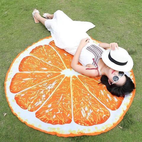 Пляжное полотенце-покрывало Апельсин