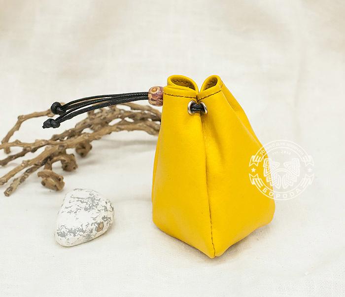 WL223-4 Желтый кисет ручной работы из натуральной кожи