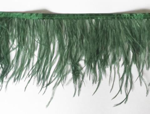 Тесьма  из перьев страуса h 10-15 см., дымчатый т.изумрудный