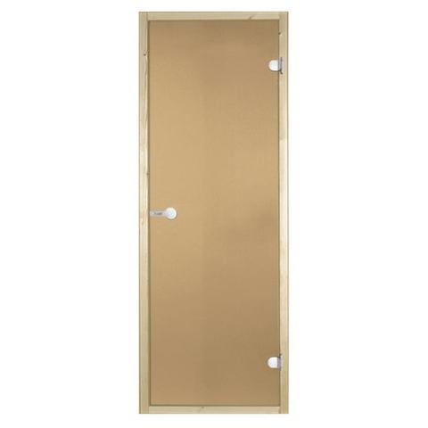 Дверь стеклянная Harvia 7х19, коробка сосна, стекло бронза, артикул D71901M
