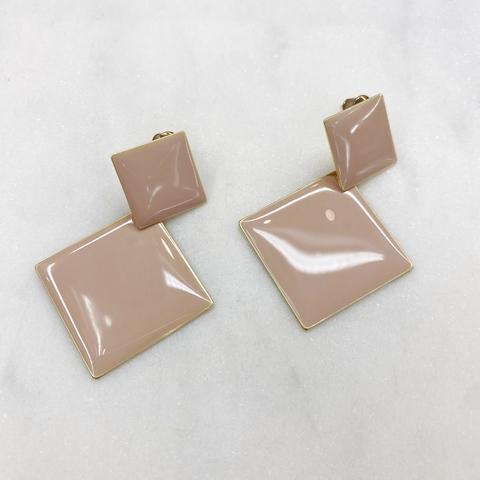 Серьги Двойные Ромбы эмаль ш925 (розовый)