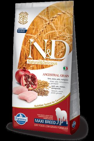 купить Farmina N&D Ancestral Grain Chicken & Pomegranate Adult Maxi сухой низкозерновой корм для взрослых собак крупных пород курица гранат спельта овес