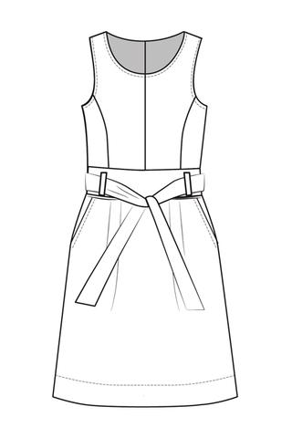 Выкройка сарафана с рельефами и расклешенной юбкой перед