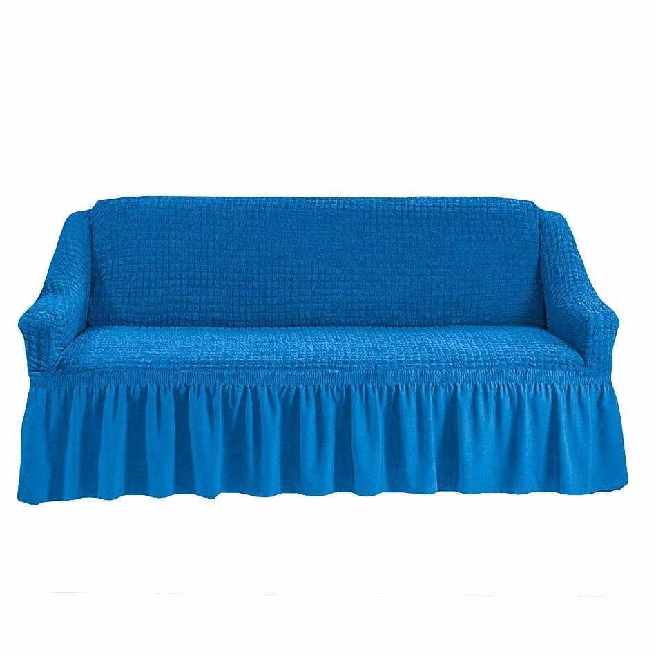 Чехол на трехместный диван, лазурный