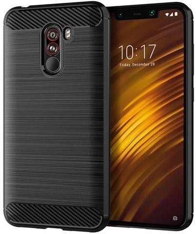 Чехол для Xiaomi Pocophone F1 цвет Black (черный), серия Carbon от Caseport