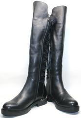 Сапоги женские кожаные на низком каблуке Flamingo-siyah