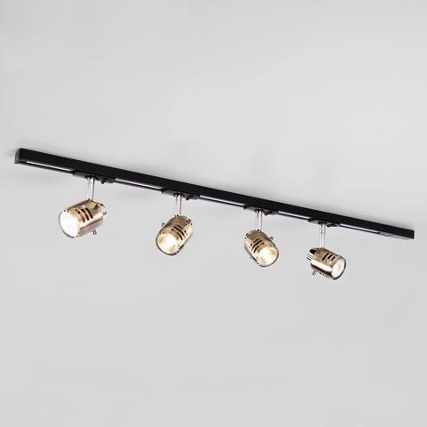 Трековый светильник на шинопроводе с поворотными плафонами 20076/4 хром/античная бронза