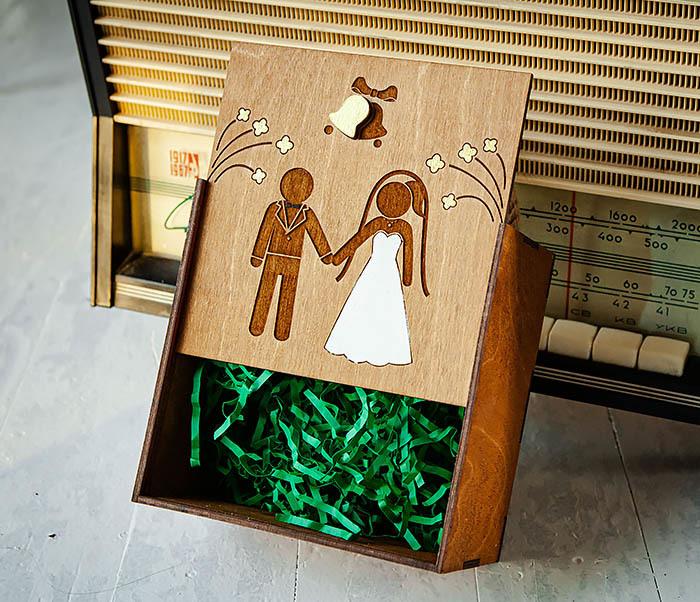 BOX250-2 Свадебная коробка для подарка с веревочными ручками (17*17*10 см) фото 04
