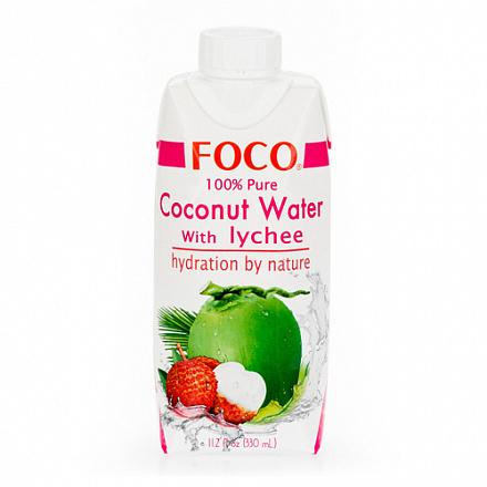 Кокосовая вода с соком личи FOCO, 330 мл