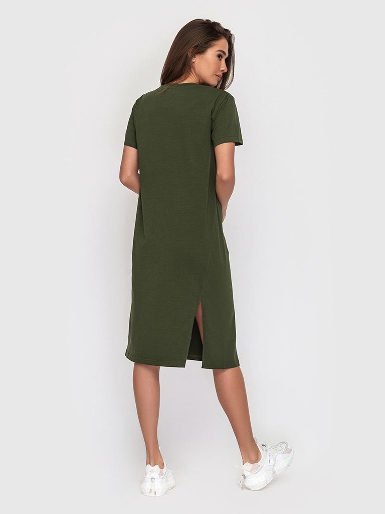 Платье хлопковое оливкового цвета