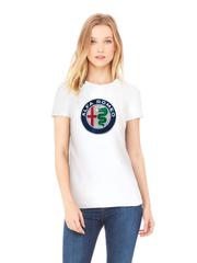 Футболка с принтом Альфа Ромео (Alfa Romeo) белая w005