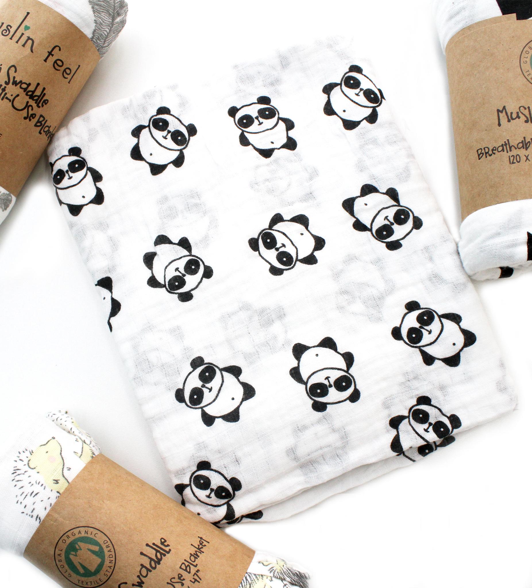Муслиновая пеленка-панды маленькие(100х105см)