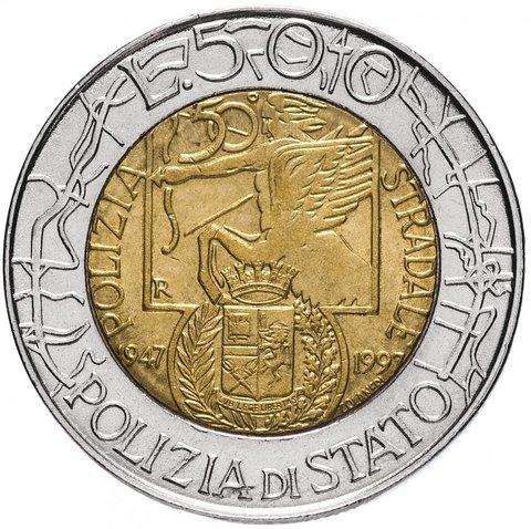 500 лир. 50 лет дорожной полиции. Италия. 1997 год. UNC