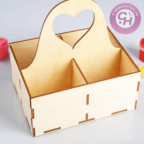 Подставка для чайных пакетиков с ручкой, 15*20 см, заготовка для творчества, деревянная.