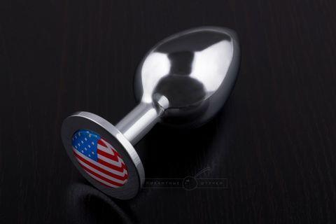 Большая анальная пробка с флагом США, медицинская сталь, 4 см