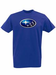 Футболка с принтом Субару (Subaru) синяя 002