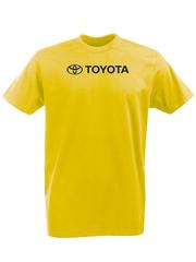 Футболка с принтом Тойота  (Toyota) желтая 001