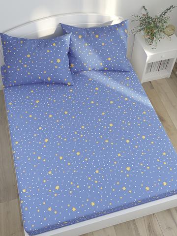 Простынь на резинке  -Зимние звезды- натяжная 90х200х26 см 1,5-спальная