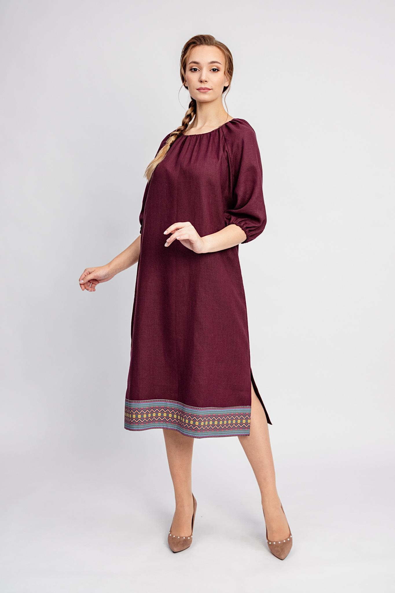Платье миди из льна Гранатовый браслет