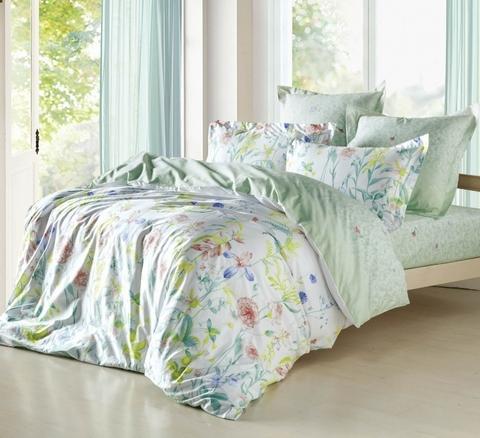 Сатиновое постельное бельё  1,5 спальное Сайлид  В-161